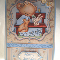 Handmade Cute Teddy Birthday Card,Decoupage, 3D,Personalise,Any age