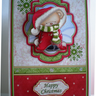 Decoupage Cute Teddy Christmas Card,Handmade,3D