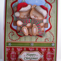 Decoupage Cute Teddies Christmas Card,Handmade,3D