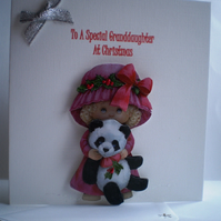 Handmade 3D Cute Christmas Card for Granddaughter,Personalise