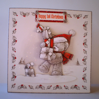 Handmade First Christmas Decoupage Card,Cute teddy,Personalise