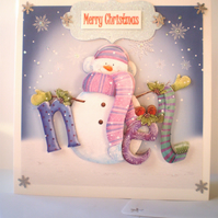 Christmas Decoupage Snowman Card,Personalise,Handmade
