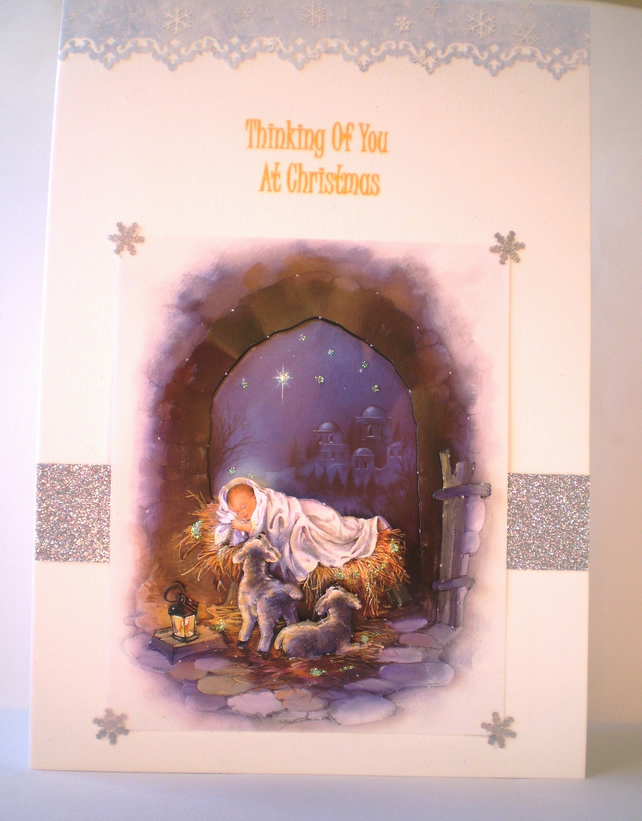 Handmade Religious Christmas Cards.Thinking Of You Religious Christmas Card Handmade Personalise