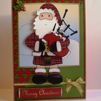 Santa Piper Christmas Card,Handmade,3D