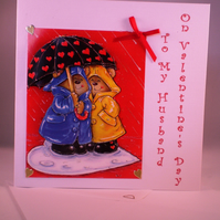 Decoupage Cute Teddies Valentine Card For Husband SALE