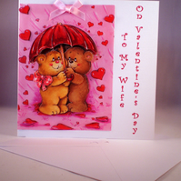 SALE Decoupage Cute Teddies Valentine Card For Wife