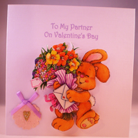 SALE Decoupage,3D Cute Rabbit and Flowers Valentine Card For Partner