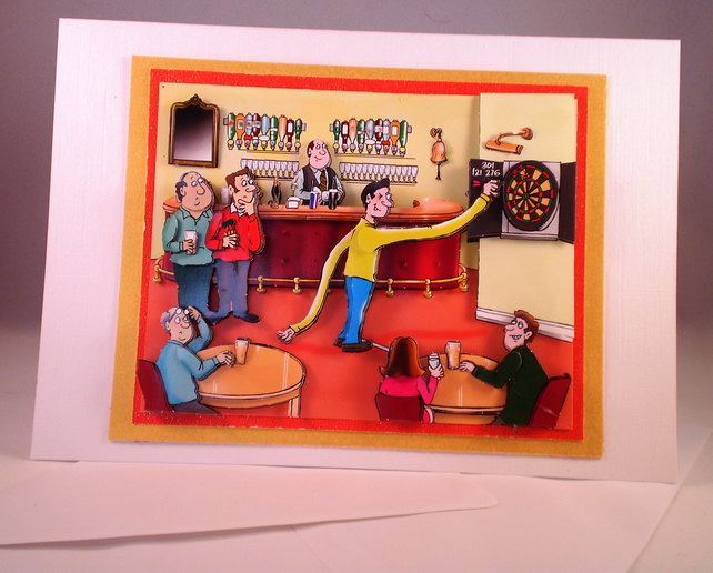 Handmade Humorous 3D Men Playing Darts, Blank or Any Occasion Greetings Card