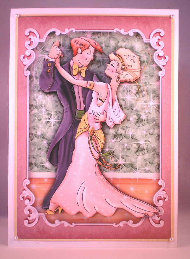 Handmade  Decoupage, 3D Dancing Couple For Any Occasion Greeting Card