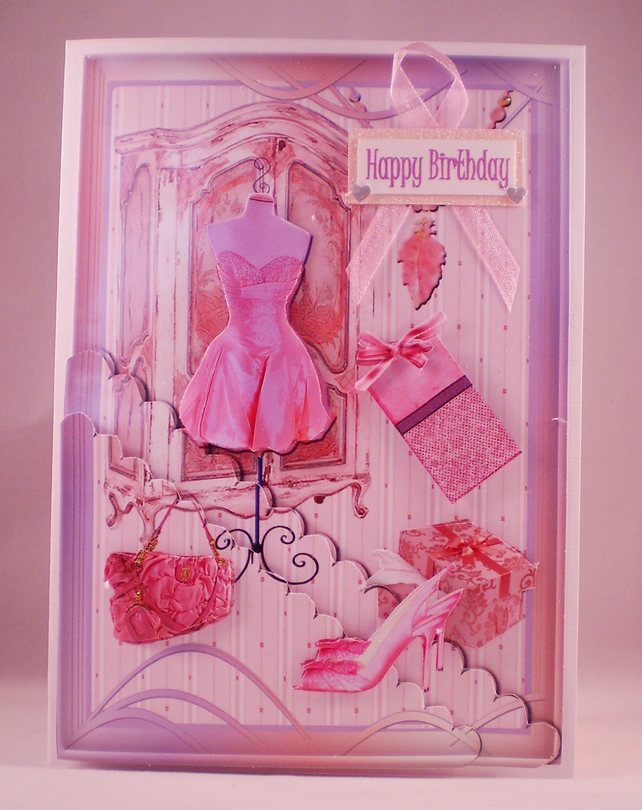 Handmade Girly Pink Fashion Birthday Card