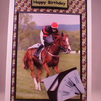 Horse Racing Sport 3D Birthday or Any Occasion Greetings Card