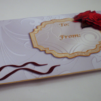 Handmade Money ,Gift Card Wallet  for Female or Anniversary ,Roses and Hearts