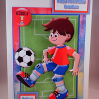Handmade Personalised 3D  Boys Football Birthday Card