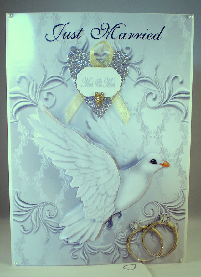 Handmade, Gay, Homosexual,Same Sex Females Wedding Card,3D,Decoupage,Personalise