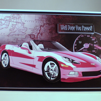 Handmade Passed Your Driving Test Card or Birthday ,3D, Pink Sports Car,