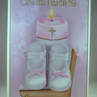 Handmade,3D,Decoupage Christening Card For Girl, Shoes,Candle and Bible