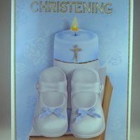 Handmade,3D,Decoupage Christening Card For Boy Shoes,Candle and Bible