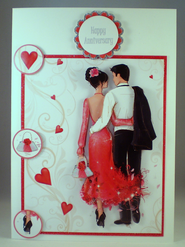 Handmade Anniversary Decoupage, 3D Card,Elegant Couple,Personalise