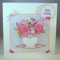 Handmade Teacup of Flowers Birthday Card,Decoupage,3D, Personalise