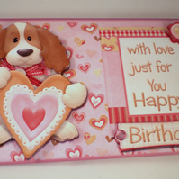 Handmade Money ,Gift Card Wallet ,Cute Dog, Birthday, Personalise