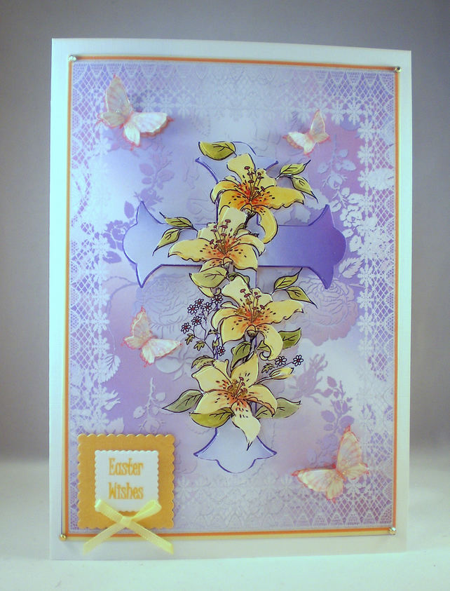 Handmade Easter Cross and Flowers Greetings Card, Decoupage 3D