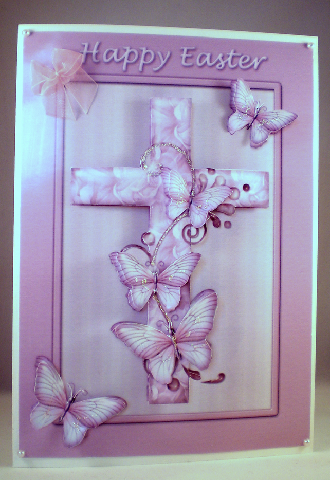 Handmade Easter Cross Greetings Card, Decoupage 3D