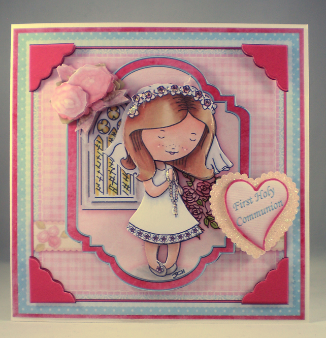Handmade Decoupage, 3D, Holy Communion Card, Girl, Personalise,Rosary Beads