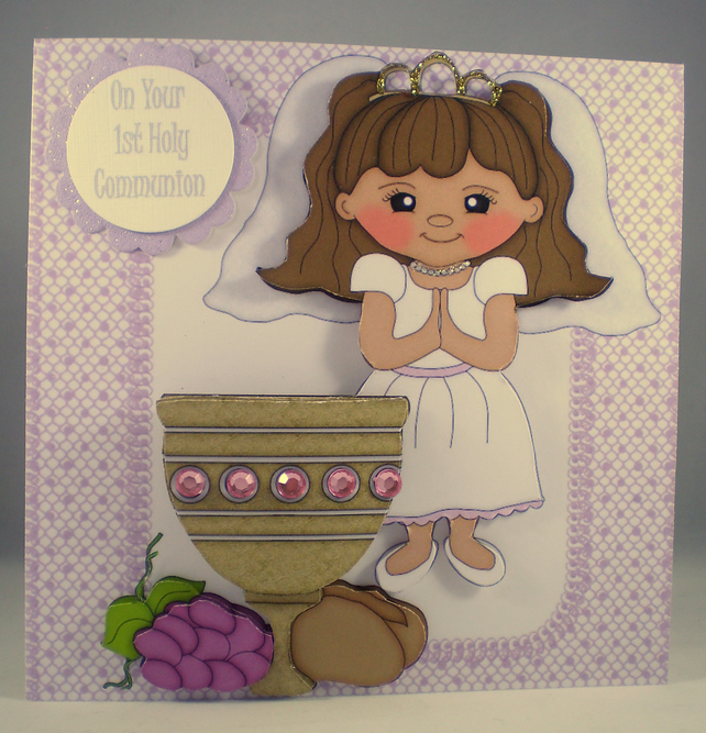 Handmade Decoupage, 3D, Holy Communion Card, Girl, Personalise,