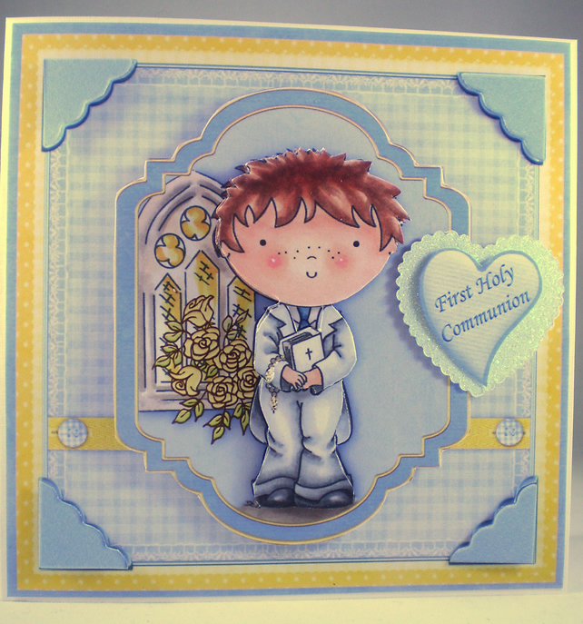 Handmade Decoupage, 3D, Holy Communion Card, Boy, Personalise,Rosary Beads