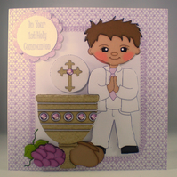 Handmade Decoupage, 3D, Holy Communion Card, Boy, Personalise,