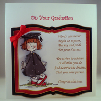 Handmade 3D Decoupage Graduation Card,Female, Personalise