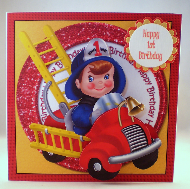 Handmade Childrens Fire Engine 1st Birthday Card, 3D,   Personalise
