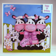 Handmade Childrens 1st Birthday Card,3D,Decoupage, Personalise, Any Age