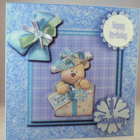 Handmade Childrens Teddy 1st Birthday Card, 3D, Decoupage, Personalise