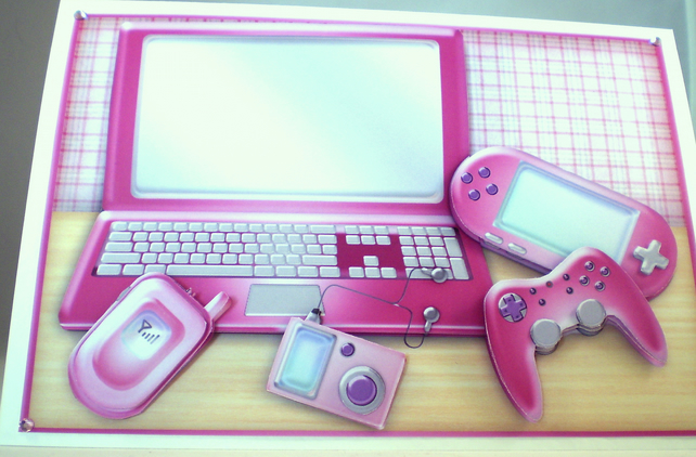 Handmade 3D Computer Birthday Card, Pink Mobile Phone,Games,Personalise
