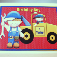 Handmade 3D Childrens Birthday Card, Mechanic,Truck,Personalise