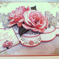 Handmade decoupage,3D birthday card,envelope style,flowers