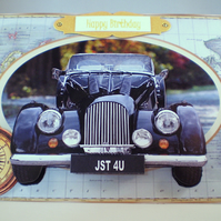 Handmade Decoupage,3D,Car Birthday Card, vintage,personalise