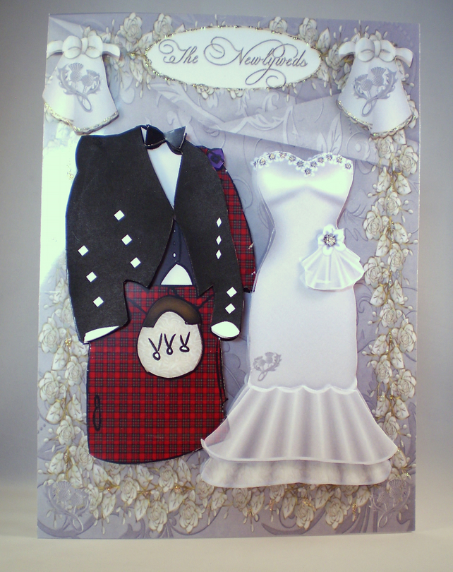 Handmade Scottish Decoupage 3d Wedding Card Ta Folksy