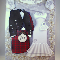 Handmade Scottish Decoupage,3D Wedding Card, tartan,kilt and dress