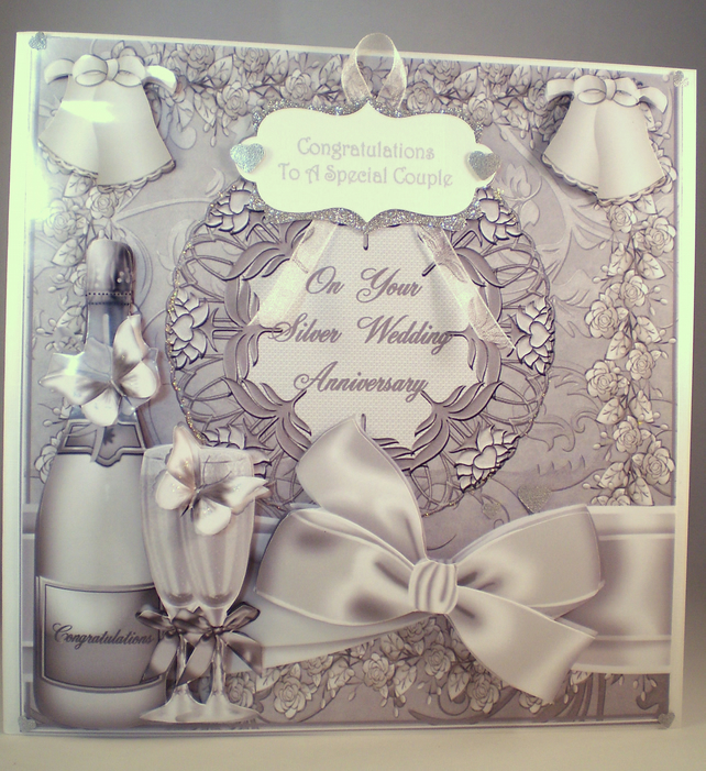Handmade Large Silver Wedding Anniversary Decoupage, 3D Card,Personalise