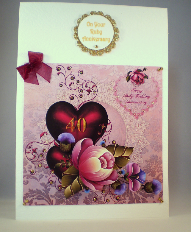 Handmade Ruby Wedding Card,40th Anniversary,Decoupage,Personalise