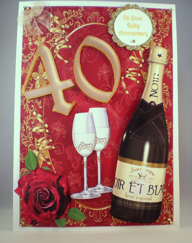 Handmade 40th Ruby Anniversary Card, Decoupage ,3D, Personalise