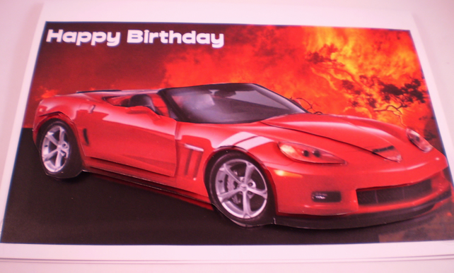 Birthday Sports Car Birthday Card, Red, 3D.Personalise,Handmade,3D