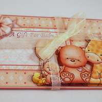 Gift Card Wallet for new baby or baby shower,neutral colours,animals