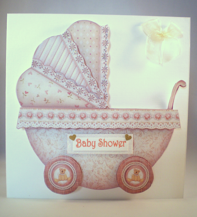Baby Shower Decoupage Greetings Card, pram,neutral colours