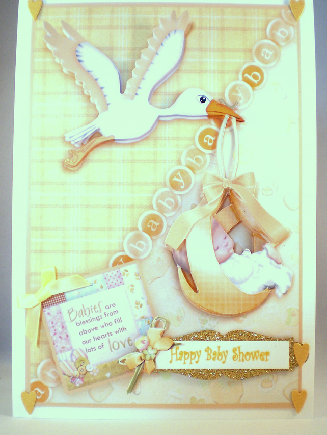 Baby Shower Decoupage Greetings Card, 3D,New Baby,Stork