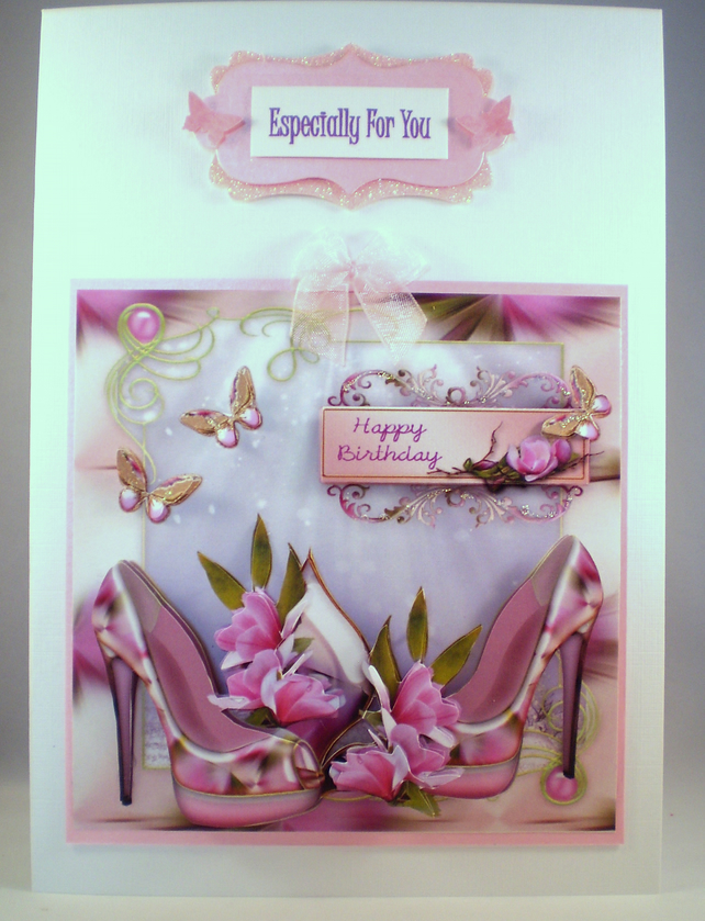 Handmade Decoupage, 3D Flowers and Shoes Birthday Card, Personalise