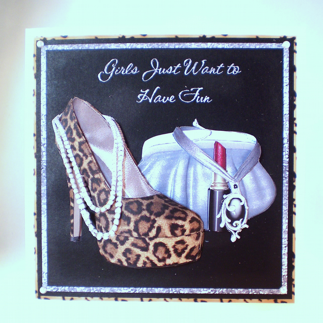 Handmade Leopard Print Shoes and Handbag Girly Greetings Card,3D,Decoupage