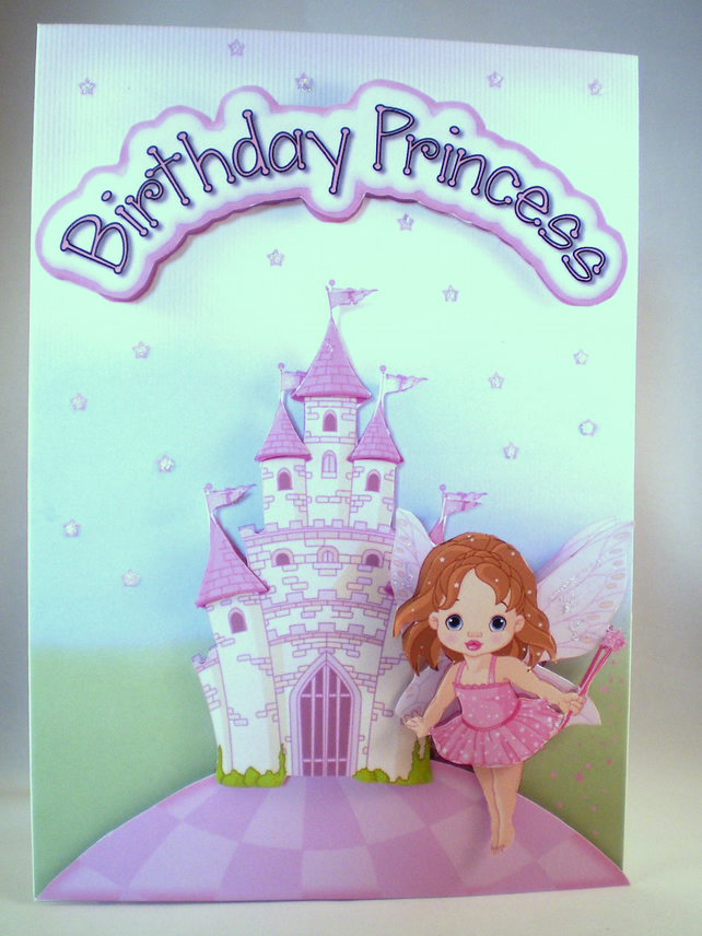 Handmade Princess Birthday Card, 3D,Decoupage,Fairy Castle,Personalise